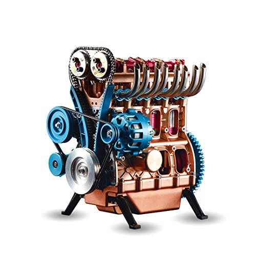 Seciie Motor Bausatz, Vierzylinder Modell-Motor Automotor, Alles aus Metall, Elektrostart