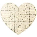 Anladia 56tlg Herz Gästebuch Holz Puzzle Hochzeitsgästebuch Hochzeit Taufe Geschenkidee Test