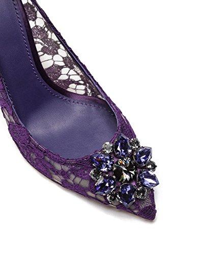 uBeauty Damen Stilettos Hell Spitzen Pumps Luxus High Heels Hochzeitsschuhe Spitze Zehen Slip On Sandalen Lila