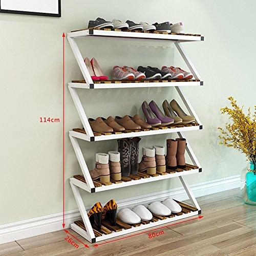 NSGP Große Schuhroste für Schränke Tür Hall 5 Tier Weiß Stapelbar Lagerung Regal Veranstalter Halter Eingang (Farbe : White Brown)