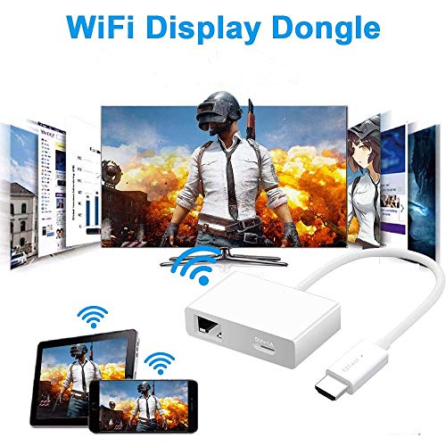 iBosi Cheng WiFi Display Dongle Wireless Display Receiver HDMI Dongle for iOS Android Smartphones Tablets Windows Mac OS Laptops to HDTV Projector Monitor (White) -