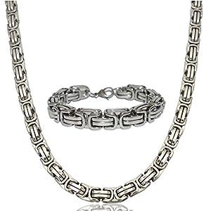 Herren Edelstahl Ketten-Set Halskette Armkette Armband Edelstahlkette 12mm Königskette Silber Silberweiß