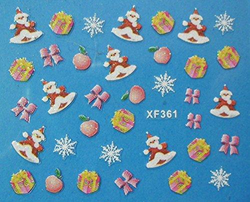 Nail art - Stickers autocollants - Stickers noël : Père noël , sapins , cadeaux