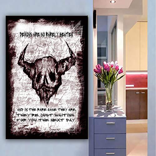 XWArtpic Halloween Horror Bull Head Zombies Wandkunst Malerei Malerei auf Leinwand Graffiti Tier Bild Der Dämon Für Wohnzimmer Wohnkultur 60 * 80 cm
