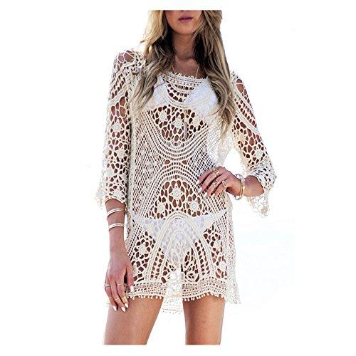 Femme Robe de plage Blanc Detelle Crochet Col V Manche longue Mini Robe (Taille unique, Blanc) (B)