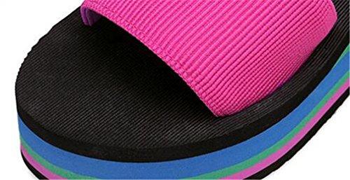 Boowhol Damen Zehentrenner Sandalen Komfort Flip-flops mit Absatz Rose