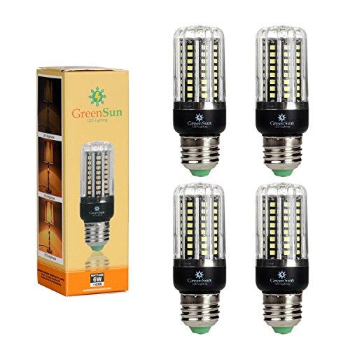 4×GreenSun LED E27 Fassung 6W Mais Birne Beleuchtung SMD2835 80LEDs Leuchtmittel Corn Light Dimmable(100%-50%-25%) Kühlesweiß Energiesparlampe für Wandlampen, Tischlampen, Deckenlampen 220V-240V