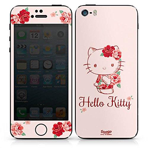 Apple iPhone SE Case Skin Sticker aus Vinyl-Folie Aufkleber Hello Kitty Geschenke Merchandise Roses DesignSkins® glänzend