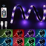 LED Streifen GLIME led Strip 2M Lichtband Led Stripe Lichtleiste RGB Lichterkette USB Wasserdicht IP65 mit Fernbedienung für TV Computer Decke Spielzimmer Bar weiß bunt DC5V 12W
