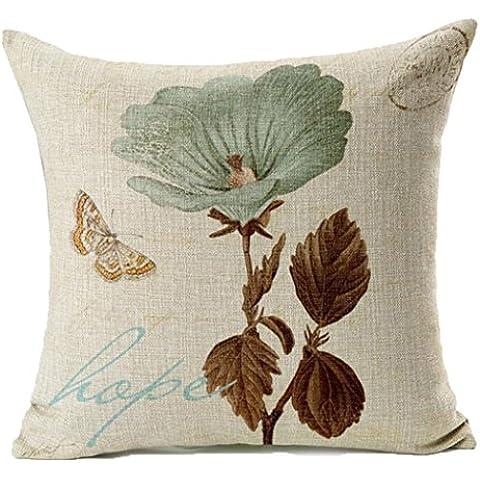JXLOULAN flores de loto de la hoja de la mariposa patrón de funda de almohada de algodón de lino. Inicio funda de almohada cuadrada. sofá tiro funda de cojín decorativo 18x18 pulgadas. (Hoja de