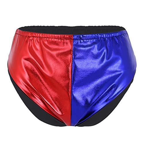 YOOJIA Damen Shorts Briefs Glänzend Metallic Elastisch Taille Hotpants Booty Shorts/Slips Halloween Narr Cosplay Kostüm Rot&Blau Briefs Small