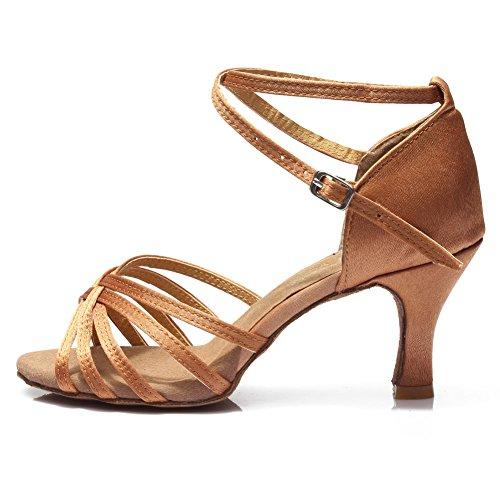 HROYL Zapatos de Baile/Zapatos Latinos de el marrón satén Mujeres ES7-F13 EU 38
