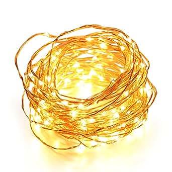 OxyLED® CL-01 12M Striscia Luce Arrotolabile Filo di Rame 120 LED, Bianco Caldo, con Telecomando, EU Spina, Ideale per Addobbi Festa