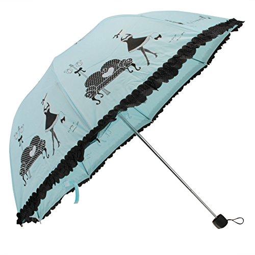 Regenschirm, Taschenschirm, Damen Schirm Folding Umbrella 4 Stufen Manuell Faltbarer Winddicht Schirm für Reise Outdoor Camping Freizeit