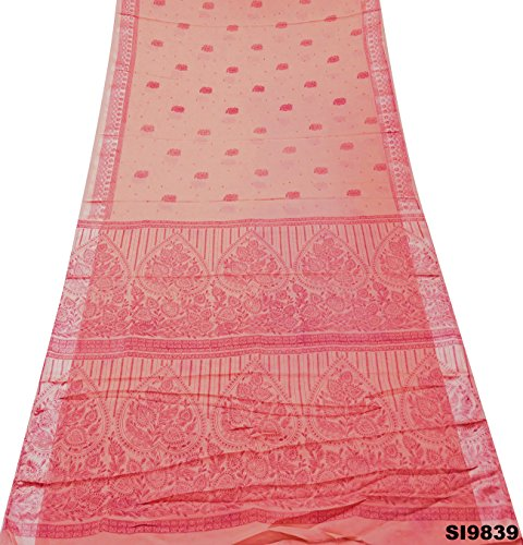 Frauen-Mode Saree Georgette Seide Blumen Gedruckt Bollywood Kleid Kunst Dekor DIY Handwerk Verwendet Stoff Jahrgang Indischen Ethnischen Sari (Tunika Seide Georgette)