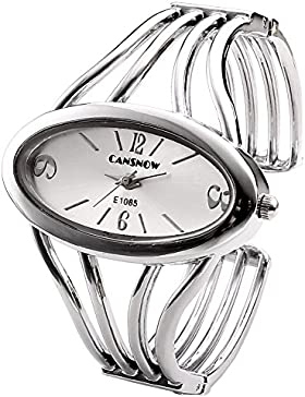 JSDDE Uhren,Elegant Damen Oval Hohl Band Spangenuhr,Frau Analog Quarz Uhr Armbanduhr(#4)