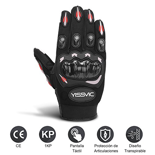 YISSVIC Guantes de Motos con Pantalla Táctil Guantes Moto Verano Guantes Motocross de Dedo Completo Talla L Color Negro y Rojo