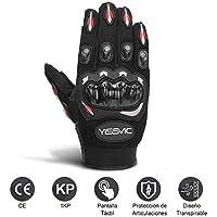 Yissvic Guantes de Motos con Pantalla Táctil Guantes Moto Verano Guantes Motocross de Dedo Completo Talla M Color Negro y Rojo