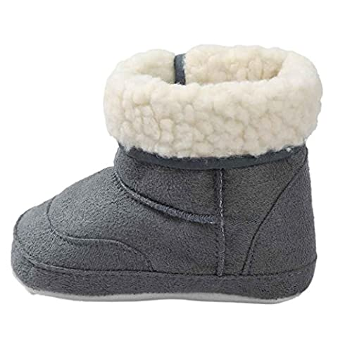 Saingace Baby Soft Sole Snow Boots Soft Crib Shoes Toddler Boots (Age 12~18 Month, Gray)