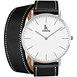 Alienwork IK Wrap2 Quartz Watch elegant Wristwatch stylish Double Wrap Leather white black 98469CL-02