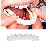 Denti Cosmetici Denti Di Sorriso Istantanei Protesi Dentale,Naturale Nuovo Comodo Denti Cosmetici Dentiera Per Il Perfetto Sorriso,Un Formato Misura Per Tutta La Persona (Bianco)