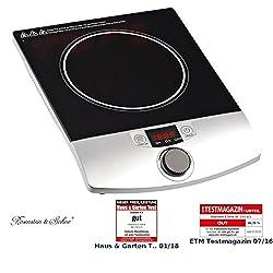 Rosenstein & Söhne Induktionskochplatte: Induktions-Kochplatte 12 bis 26 cm LCD Drehregler, 2.000 W, bis 200 °C (Induktionskochfeld)