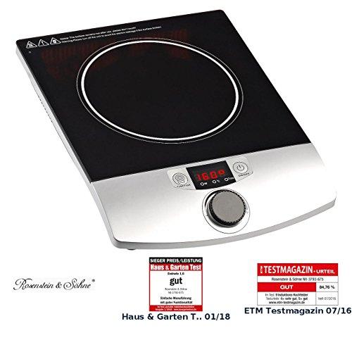 Elektrische Pfanne 12x12 (Rosenstein & Söhne Induktionskochplatte: Induktions-Kochplatte 12 bis 26 cm LCD Drehregler, 2.000 W, bis 200 °C (Induktions Einzelkochplatten))