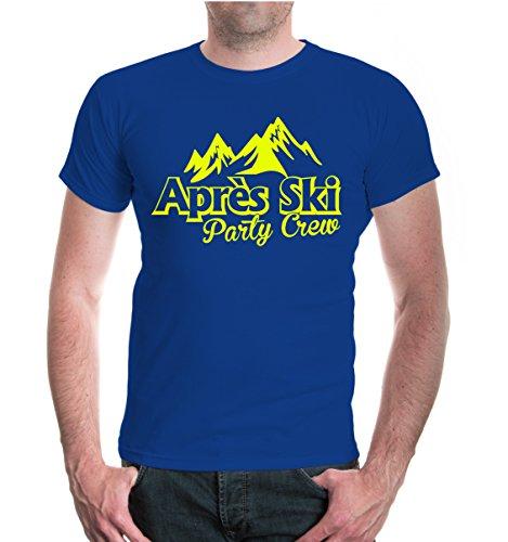 buXsbaum® Herren Unisex Kurzarm T-Shirt Apres Ski Party Crew | Funshirt Skifahren Skifahrer Piste royal-neonyellow