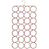 HOKIPO 28 Rings Metal Folding Rope Hanger for Scarf, Belts, Shawls and Ties - (RHY5,Assorted)