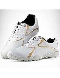 PGM mujeres zapatos de golf deportes casual zapatos --- microfibra piel, transpirable, impermeable # xz016, white-gold