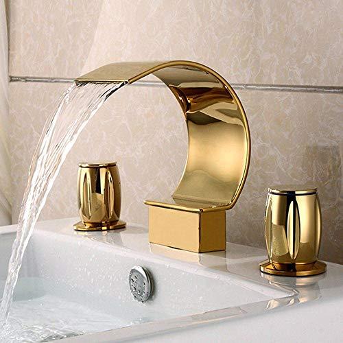 Mainstream home Gold 3-Loch Waschtischarmatur Wasserfall-Bad-Bassin-Mischer-Hahn Lever-Waschtischmischer Tap Zweigriff-Mischbatterie für Badezimmer in Messing Comfort Höhe 150 mm (öl-bubbler-rohr)