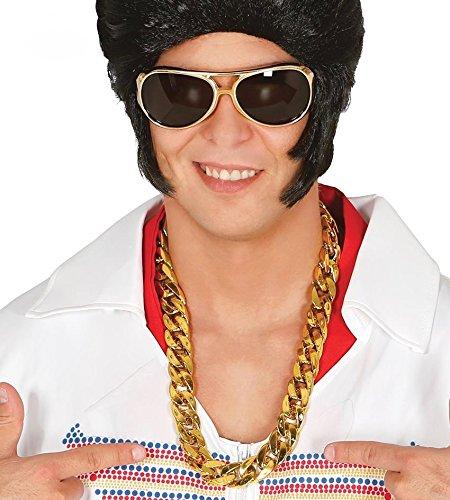 shoperama Goldene Rapper-Kette Glieder glänzend Blingbling Oldschool Hiphop Zuhälter Assi - Old School Rapper Für Erwachsenen Kostüm