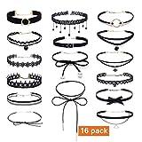 Ensemble de colliers ras du cou noir pour filles/femmes - Style gothique/classique en velours, dentelle élastique, ruban... - 16pièces
