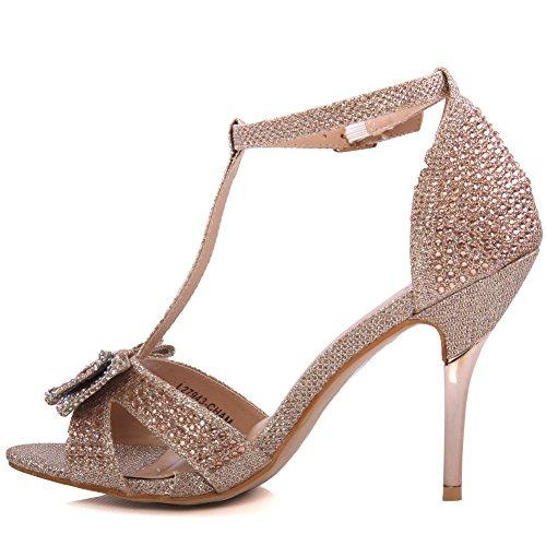 Unze Femmes de Mishka 'Bow Accented Sandals Champaign
