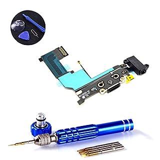 PPdigi Dock Connector für iPhone SE USB Ladebuchse Audio buchse Mikrofon mit Werkzeugset (Passen iPhone SE, Space Grau)