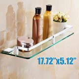 #6: Toughened Glass Shelf with Pure Brass Heavy Wall Brackets for Bathroom | Wash Area | Kitchen Accessories (18 X 6) by Pesca