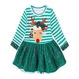 Baby Mädchen Weihnachten Prinzessin Kleid, Lenfesh Kinder Herbst Mode Gestreiftes Deer Kleid Outf