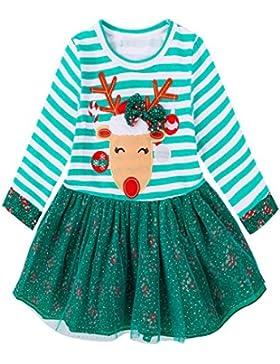 Baby Mädchen Weihnachten Prinzessin Kleid, Lenfesh Kinder Herbst Mode Gestreiftes Deer Kleid Outfits