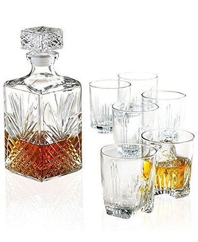Bormioli Rocco Selecta 7 Piece Whiskey Gift Set includes Decanter and 6 Double Old Fashioned Rocks Glasses by Bormioli Rocco 1 Double Old Fashioned