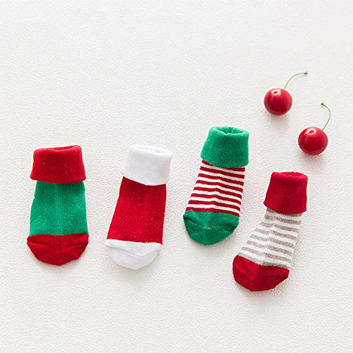 ristmas Fun Fuzzy Colorful Cotton Crew Holiday Slipper Grußkarte 4 Paare ()