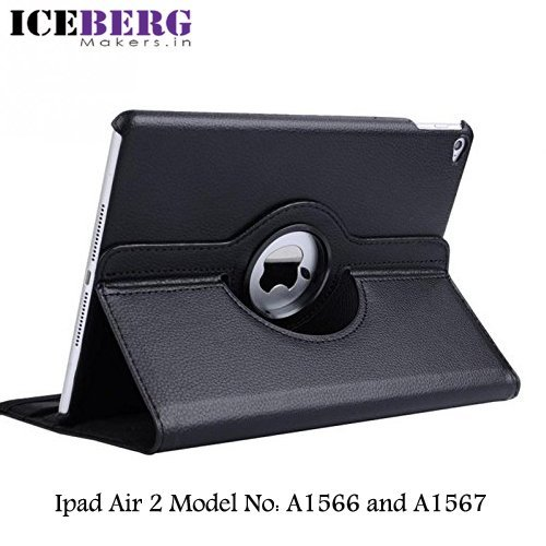 ICEBERG MAKERS.IN Apple 9.7 inch iPad AIR 2 Model number A1566 and A1567 Smart Flip Cover Case (360° Rotary-Swivel Stand) PU Leather Folio Flip Smart Cover case (Rotate - Black)