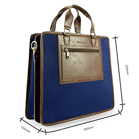 Becko Cotton Canvas Crazy-horse PU Leather Briefcase Laptop Macbook Air Pro Retina Ultrabook Netbook Bag / Carrying Protector Case Sleeve (Blue 2 in 1 Briefcase)