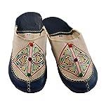 Orientalische Schuhe Babouche Hausschuhe Pantoffel Slipper aus Marokko - Damen Hausschuhe aus Leder , Handarbeit aus Fes (40, Mehfarbig (Beige))