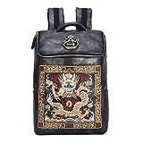 Chinese Luxury Designer Wasserdichte Männer/Frauen Vintage Rucksäcke Schultasche Stickerei Rucksack Leder Laptop Tasche Gold Loong