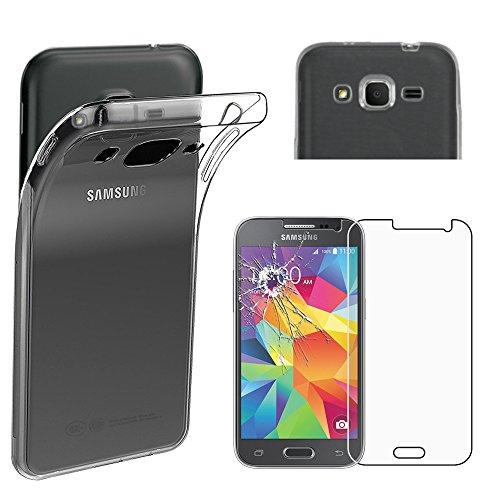 ebestStar - Compatibile Cover Samsung Galaxy Core Prime SM-G360F, 4G SM-G361F VE Custodia Trasparente Silicone Protezione Morbida, Trasparente + Vetro Temperato [Apparecchio: 130.8x67.9x8.8mm, 4.5'']