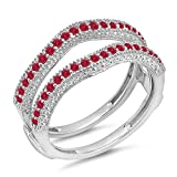 DazzlingRock Collection Damen 0,45 Karat Gold 14K Roten Rubin Diamant Ehering Millgrain Schützen Doppel-Ring 1/2 Ct 8