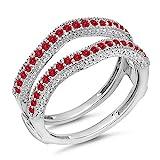 DazzlingRock Collection Damen 0,45 Karat Gold 14K Roten Rubin Diamant Ehering Millgrain Schützen Doppel-Ring 1/2 Ct 8