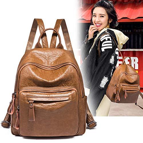 Fyyzg Rucksack weiblichen koreanischen Version der Flut 2018 Neue Wilde weiche Ledertasche Rucksack Mode lässig Reisetasche weiblich - braun_19 Zoll