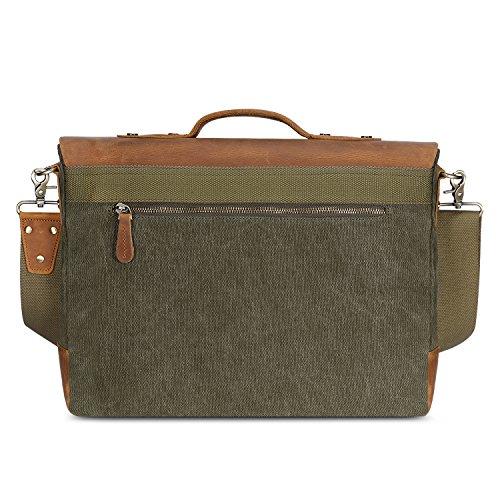 Plambag Messenger Laptop Tracolla Vintage da Uomo Cartella Borsa Contiene un PC Portatile da 14 pollici Verde militare