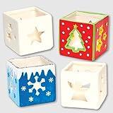 """Baker Ross Keramik-Teelichthalter """"Weihnachten"""" zum Selbergestalten für Kinder (4 Stück)"""